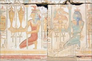 Pictured: two priestesses provide food and wine offerings. Temple of Ramesses, Abydos.