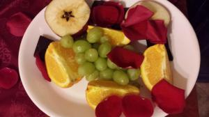 Fruit offerings provided to Sekhmet during one of my services in her name. Chocolate is hiding on the outskirts of the image.