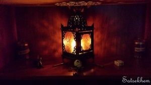 The in-home akhu altar space is simple, but effective.